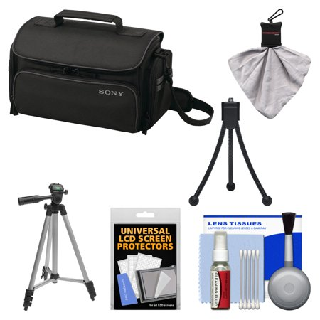 Sony LCS-U20 Medium Carrying Case (Black) with Tripod + Accessory Kit for Handycam, Cyber-Shot, NEX Digital Cameras