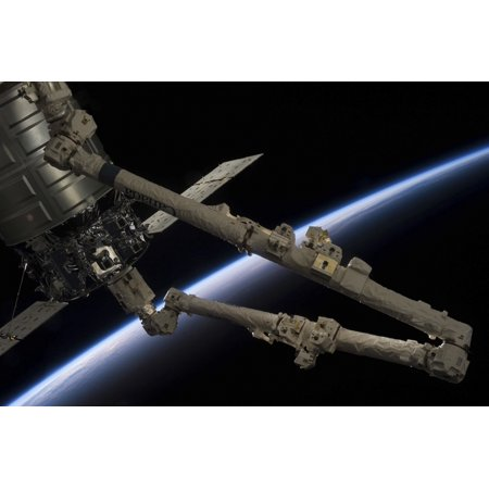 Canadarm2 Robotic Arm Prepares To Release The Cygnus Spacecraft Poster Print