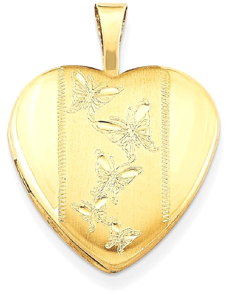 IceCarats Gold Plated 925 Sterling Silver 16mm Butterfly Heart Photo Pendant Charm Locket Chain Necklace That Holds... by IceCarats