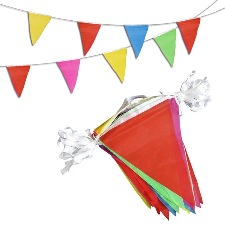 Novelty Place [MULTI-COLOR] Pennant Banners - 260 Feet 200 Flags 5 Colors - Birthday Party Grand Opening Christmas Decorations - 80s Christmas Decorations