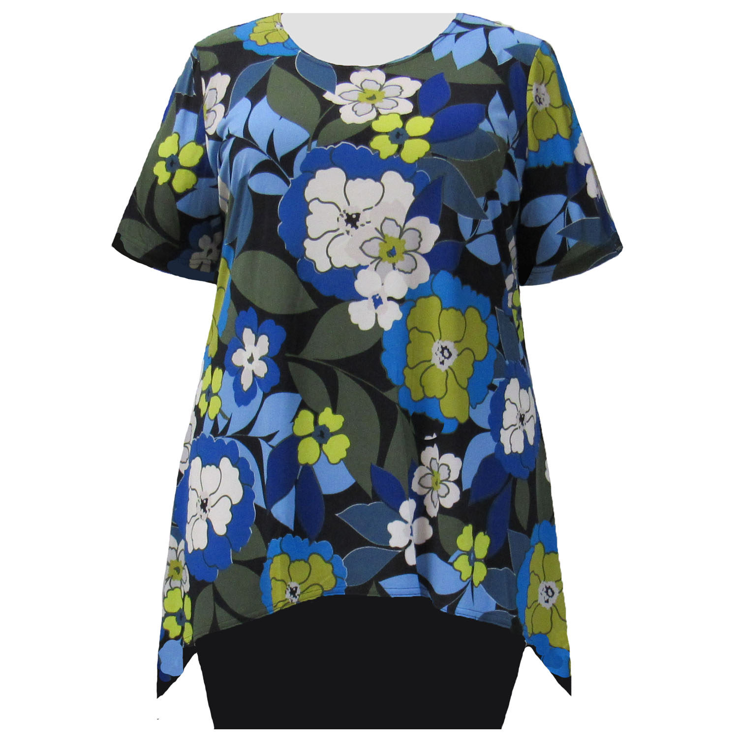 A Personal Touch Blue Watercolor Tribal 3//4 Sleeve Womens Plus Size Blouse