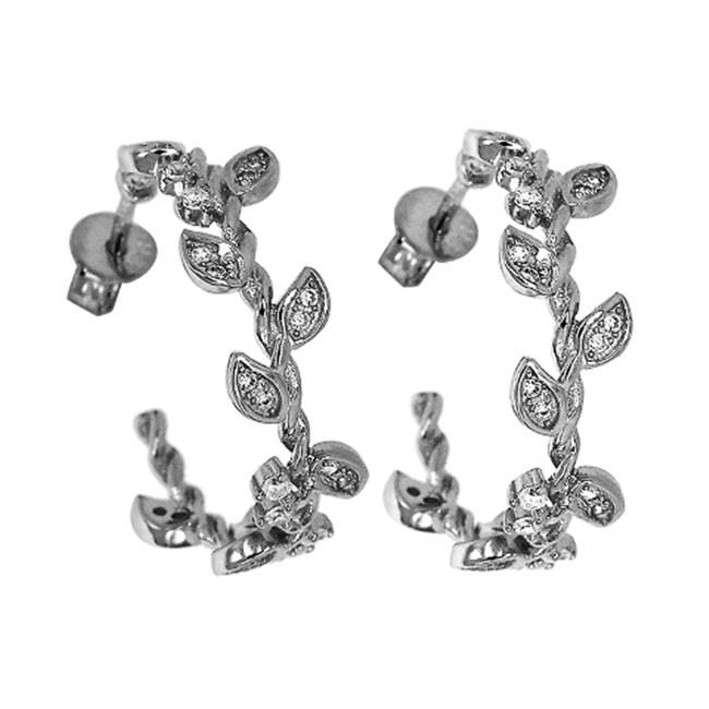 Little Sparkles Floral Hoop Earrings - White Gold Sterling Silver 925