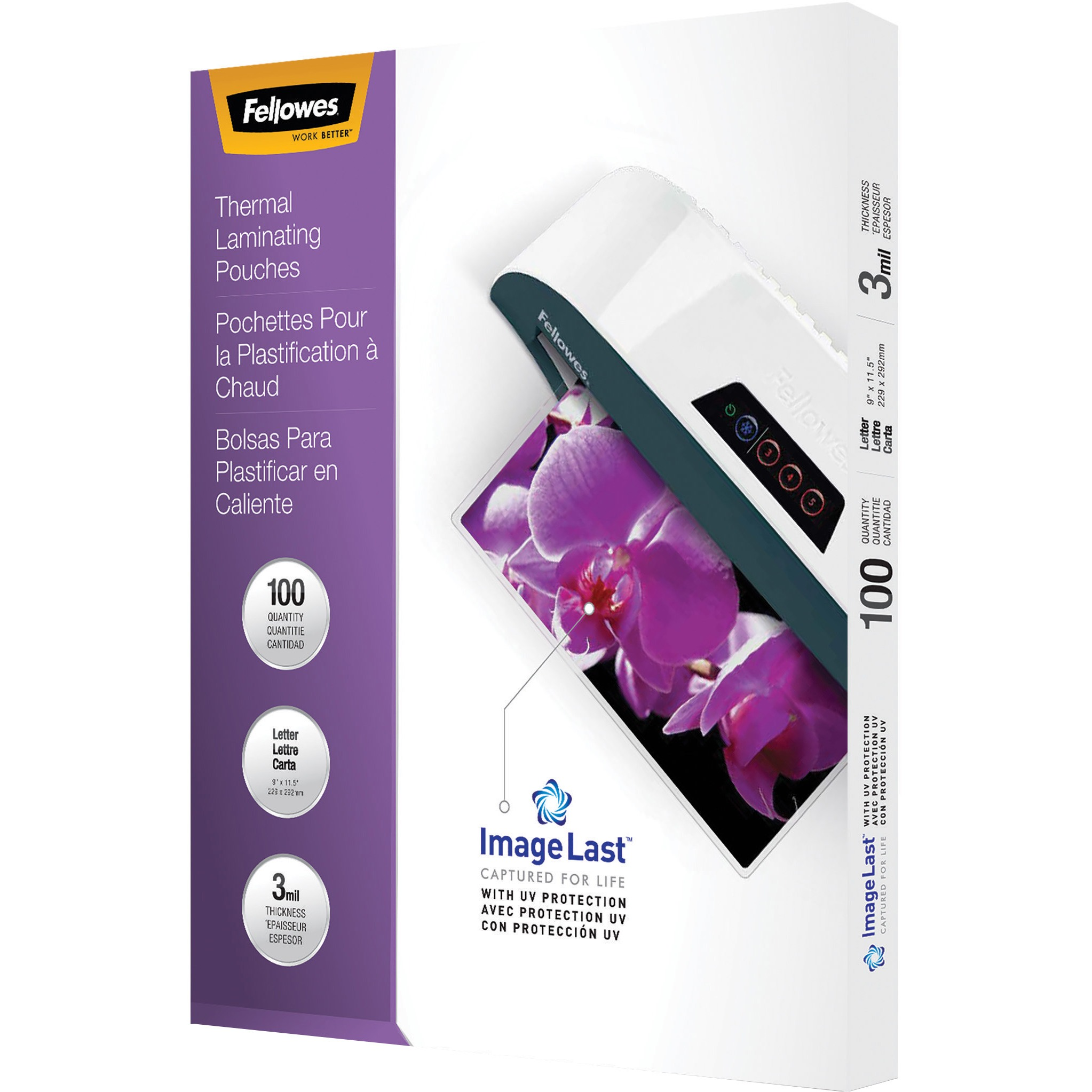 Fellowes Letter-size Glossy Laminating Pouches, 100 / Box, Clear