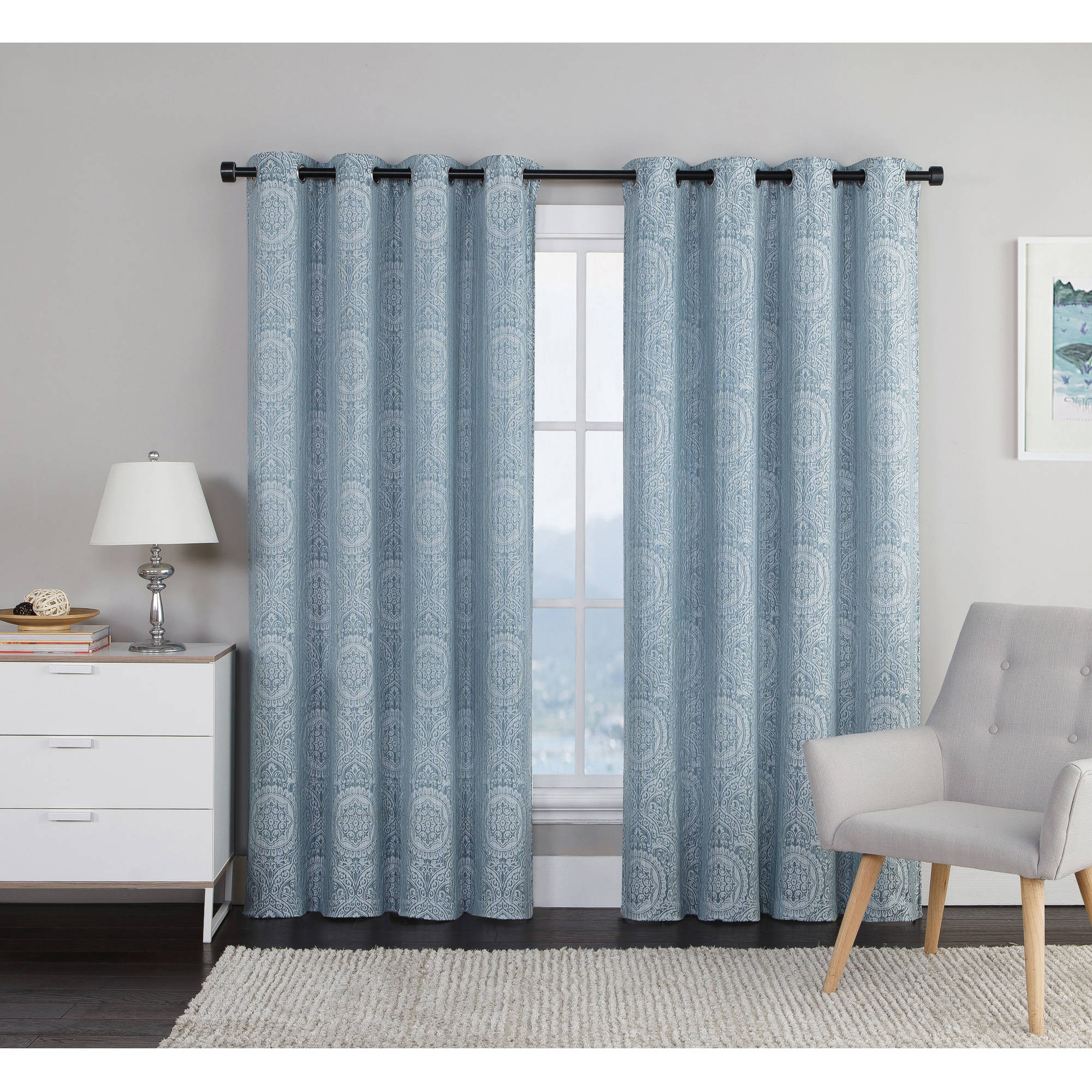 "***DISCONTINUED*** VCNY Home Utopia Medallion Jacquard 84"" Length Grommet Top Window Curtains, Set of 2"
