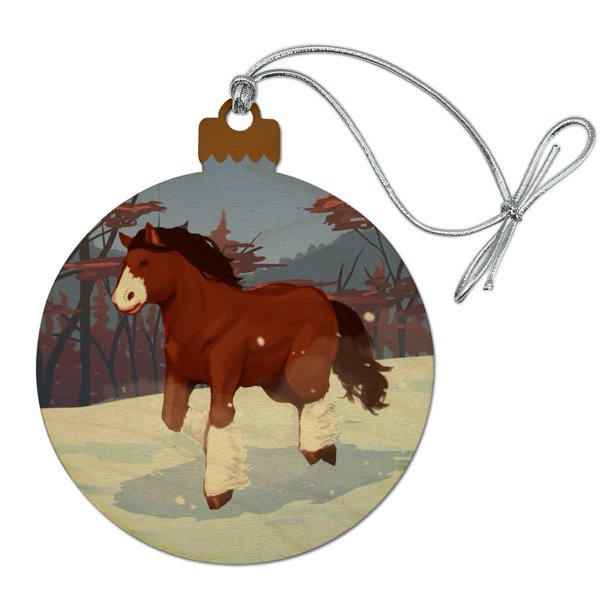 Clydesdale Horse Running In Snow Wood Christmas Tree Holiday Ornament Walmart Com Walmart Com