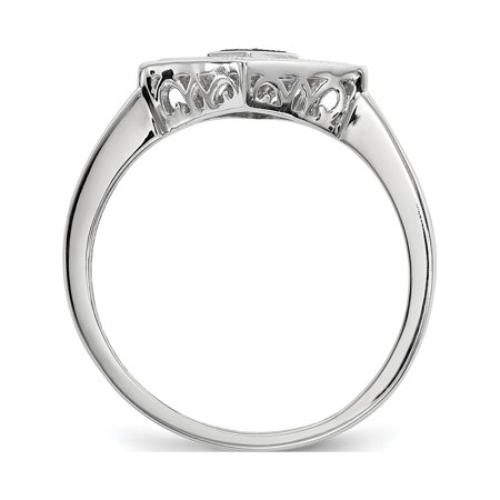 Sterling Silver Black and White Diamond Ring - image 4 de 6