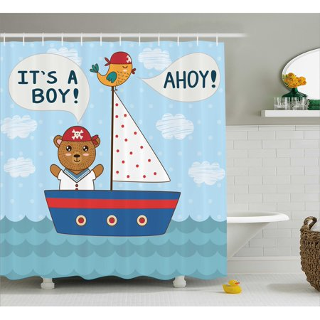 Ahoy Its a Boy Shower Curtain, Cute Baby Shower Theme It's a Boy in Nautical Style Bear and Bird in Boat, Fabric Bathroom Set with Hooks, 69W X 70L Inches, Multicolor, by Ambesonne (Boys Baby Shower Themes)
