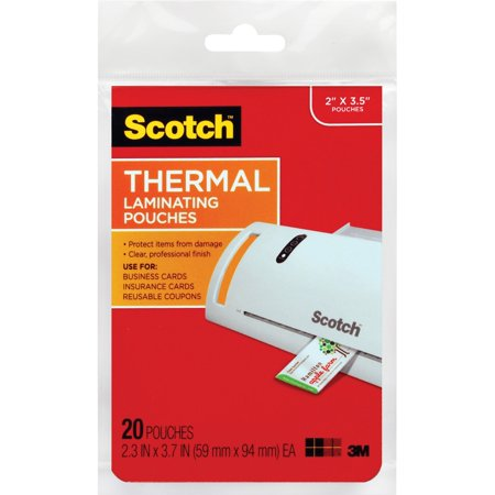 Scotch, MMMTP585120, Thermal Laminating Pouches, 20 / Pack, Clear