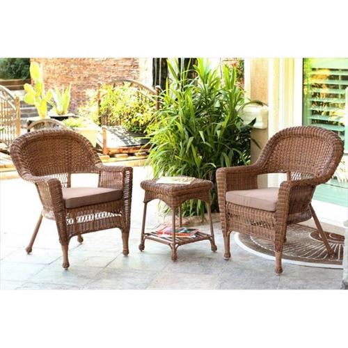 Jeco W00205_2-CES007 3 Piece Honey Wicker Chair And End Table Set With Brown Chair Cushion