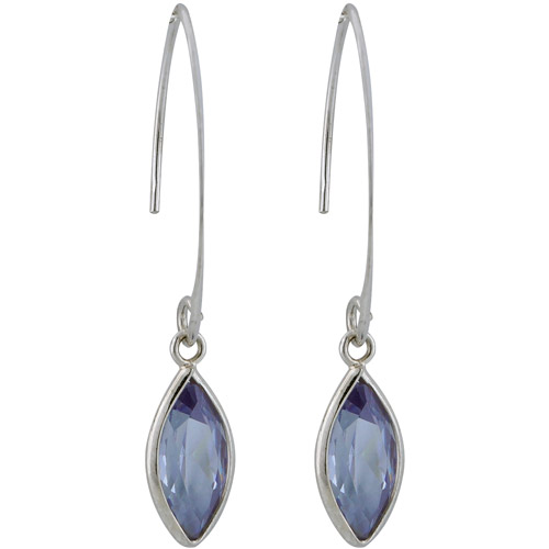 """Lavender CZ Rhodium over Sterling Silver Marquise Bezel Set 1-1/2"""" Drop Earrings"""