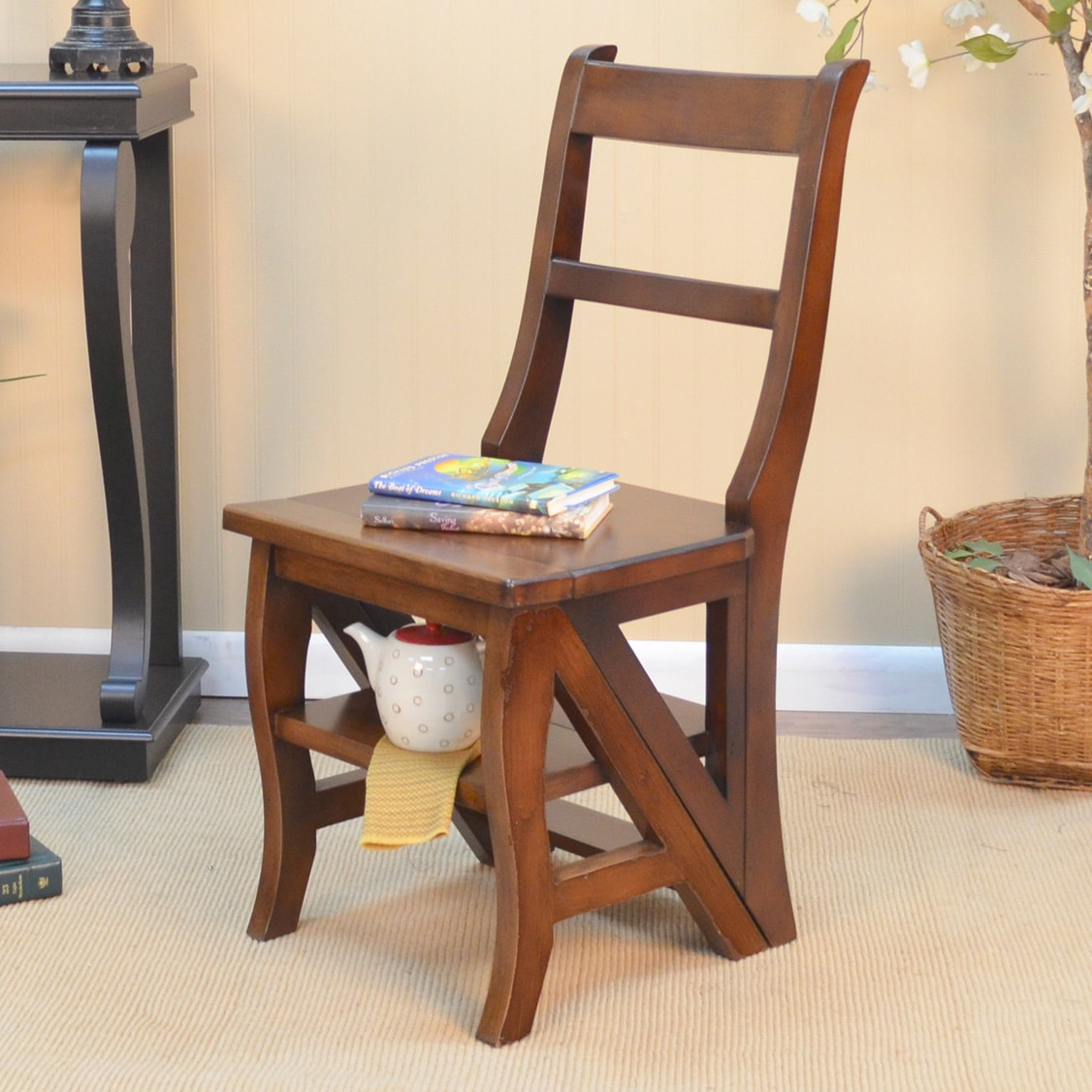 Carolina Chair and Table Folding Wood Library Ladder Chair