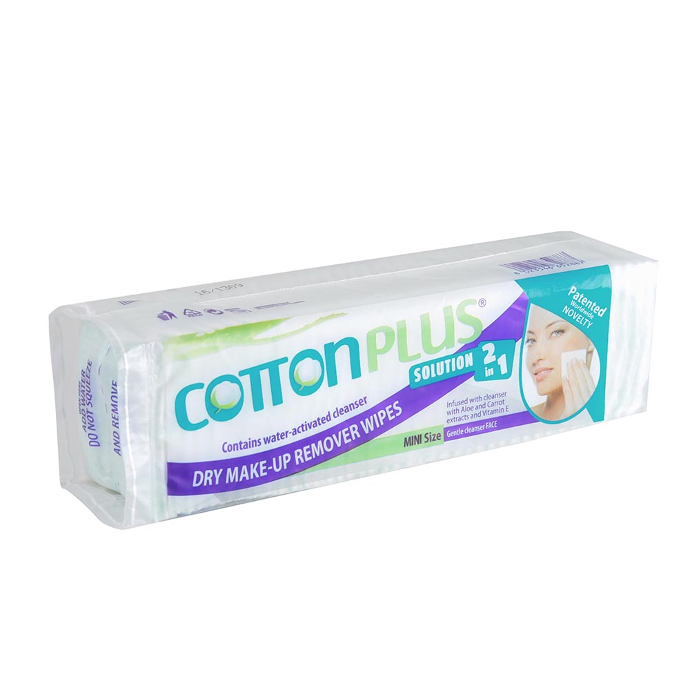 """Cotton Plus 2in1 Aloe 2x1.7"""" Mini Makeup Remover Pads Facial Wipes Cleaner 80 Counts"""
