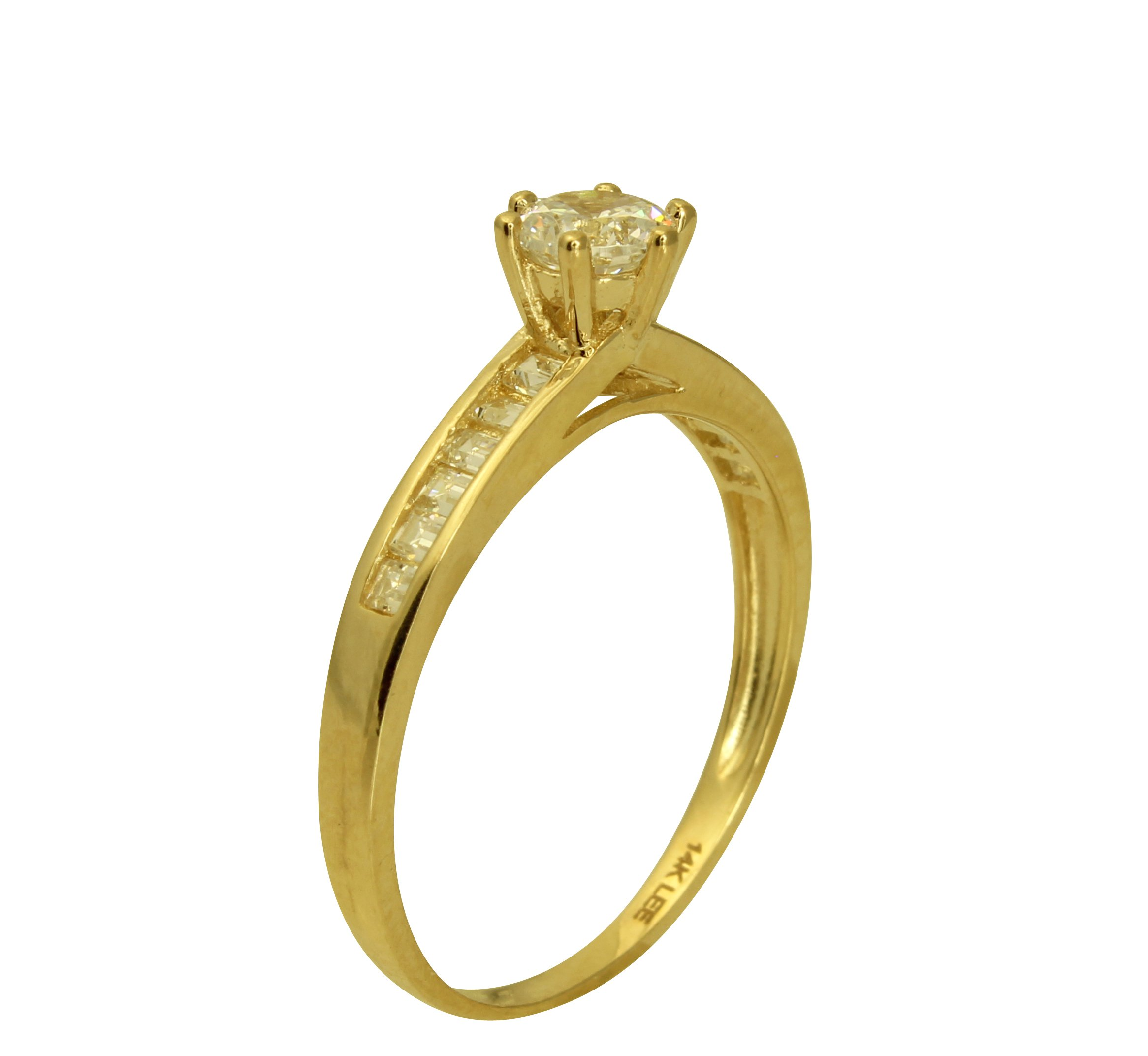 ea8ab24a23e9a 1.50 Ct 14K Real Yellow Gold Round Cut with Princess Cut Channel Set Side  Stones 6 Prong Cathedral Setting Engagement Wedding Propose Promise Ring  with ...