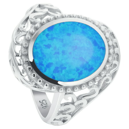 Gem Avenue 925 Sterling Silver Blue Color Opal Swirl Design