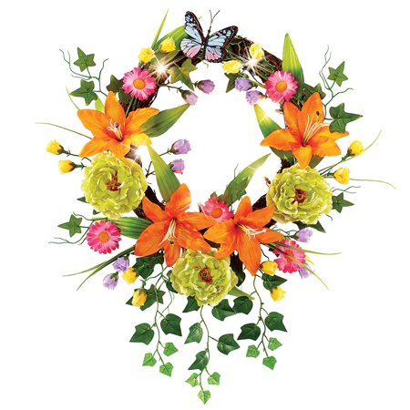 Bright Orange Lilies Cascading Wreath - Seasonal Window or Door Accent for Any Room in Home](Summer Door Wreath)