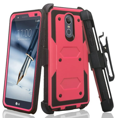 LG Stylo 4 Case, Rugged Series with Built-in [Screen Protector] Heavy Duty Full-Body Rugged Holster Armor Case [Belt Swivel Clip][Kickstand] (Hot Pink) - image 6 de 6