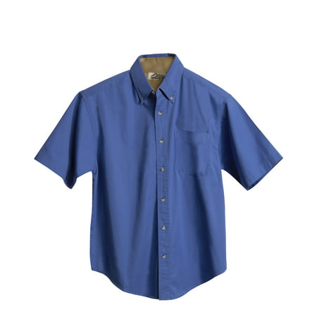 Tri-Mountain Gold Valor 788 Short Sleeve Peached Twill Shirt, 6X-Large, Pacific Blue/Camel