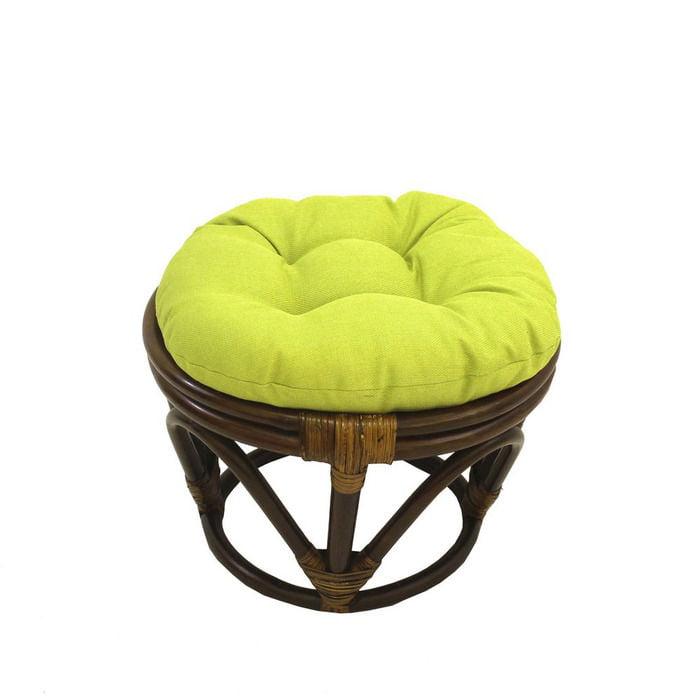International Caravan Rattan Ottoman with Outdoor Fabric Cushion