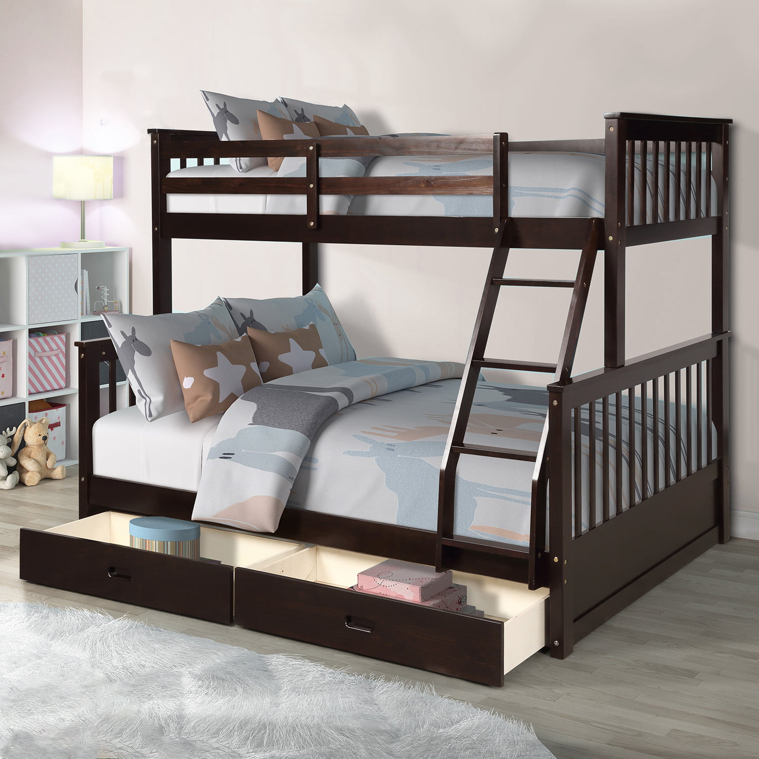 White Twin Over Full Bunk Bed Twin Over Full Bunk Beds With 2 Storage Drawers Solid Wood Bunk Beds With Ladder And Safety Rail No Box Spring Required Bunk Beds For Kids Teen