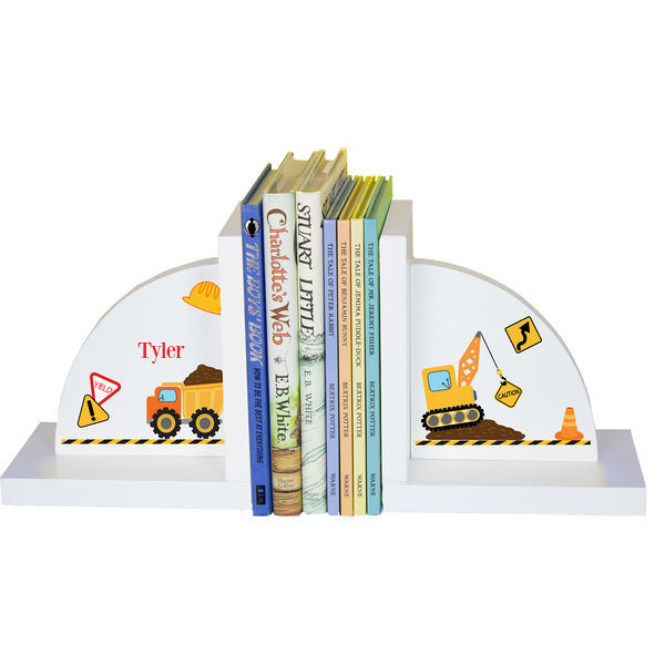 Personalized Construction Childrens Bookends
