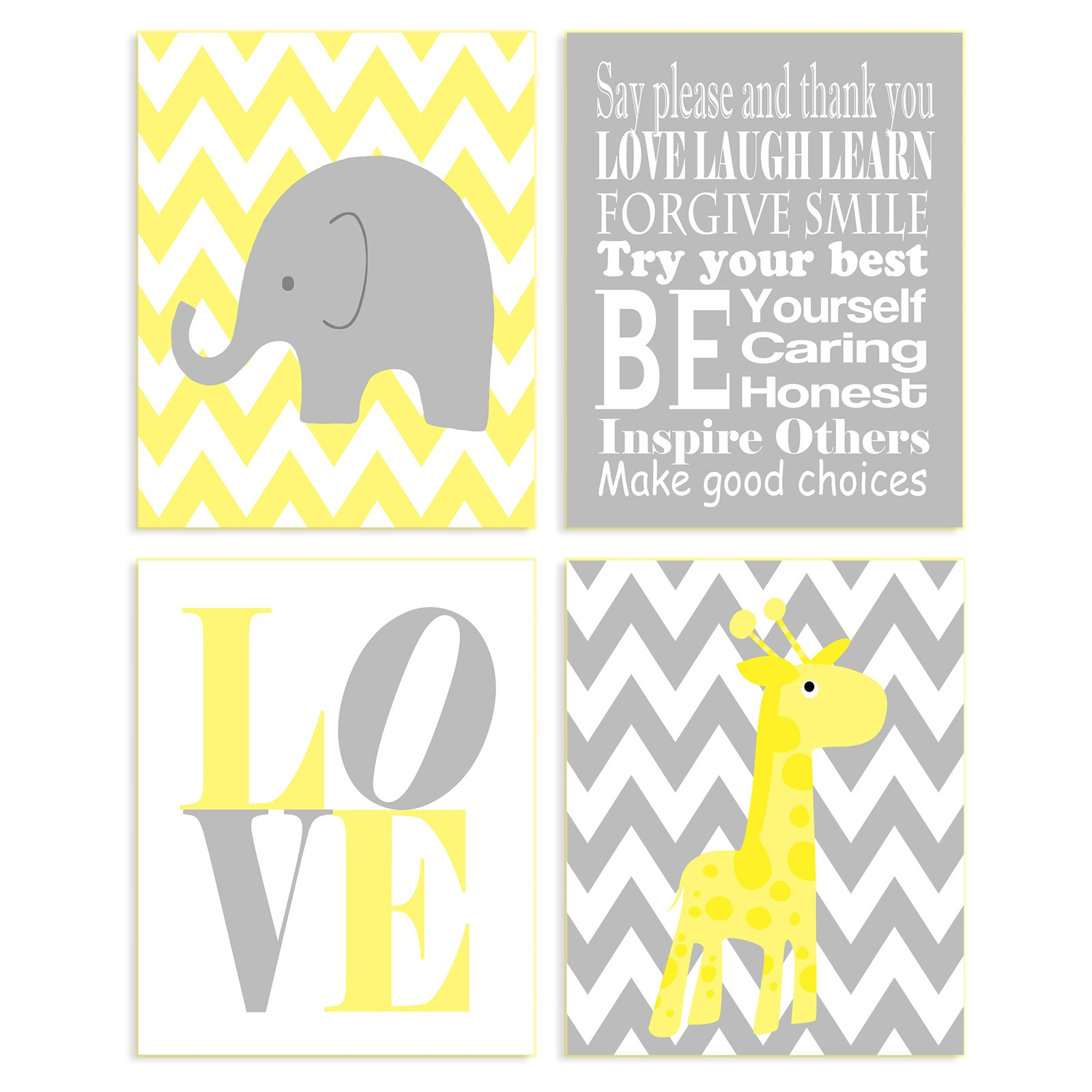 The Stupell Home Decor Collection Elephant And Giraffe Wall Plaque - Set of 4