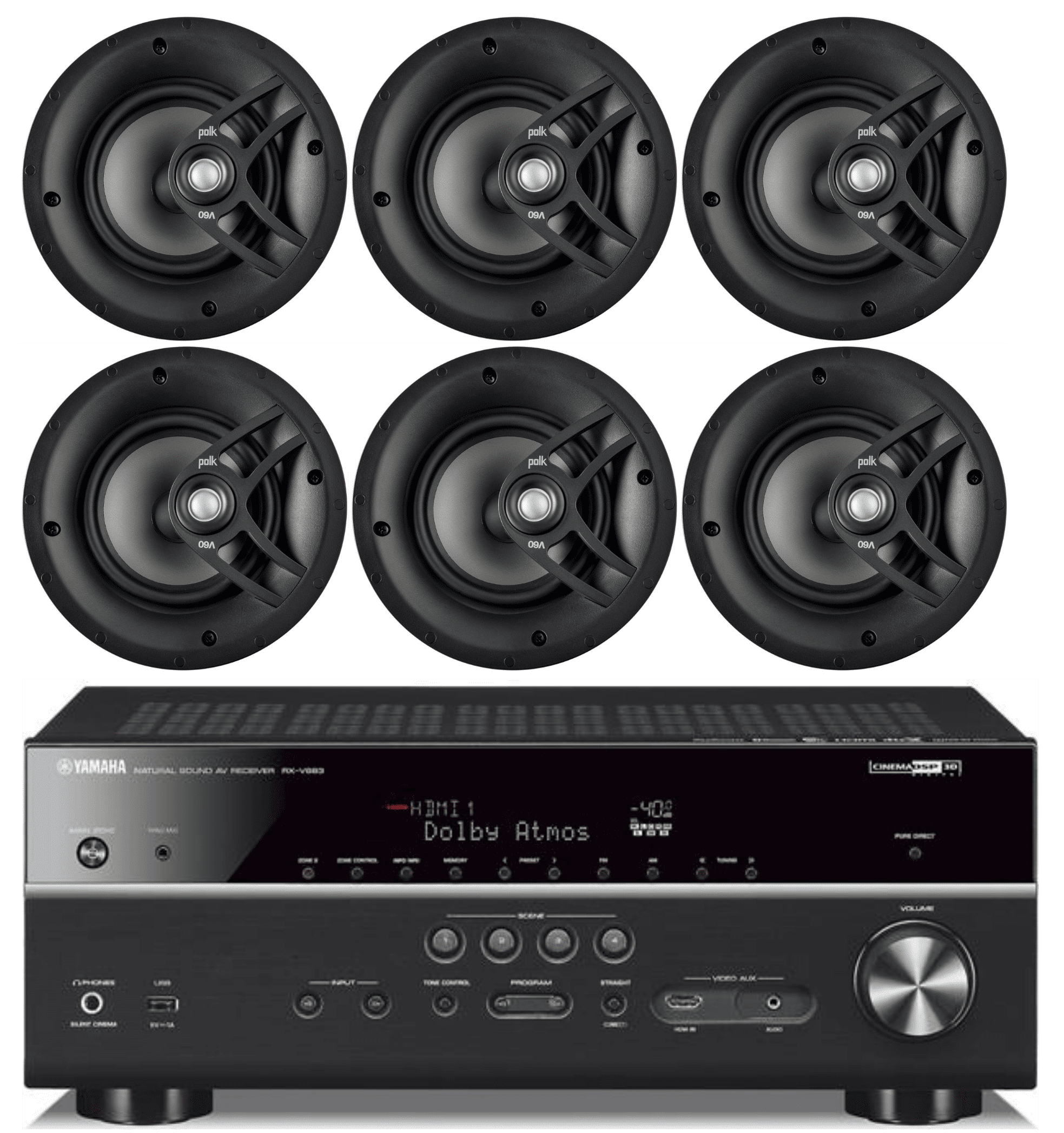 """Yamaha 7.2-Channel Wireless Bluetooth 4K Network A V Wi-Fi Home Theater Receiver + Polk 8"""" 2 Way... by Yamaha"""