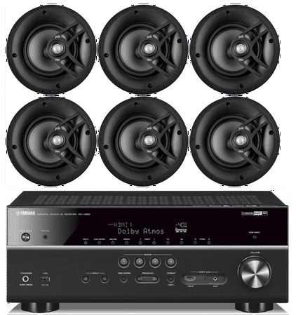 """Yamaha 7.2-Channel Wireless Bluetooth 4K Network A/V Wi-Fi Home Theater Receiver + Polk 8"""" 2 Way High-Performance Natural Surround Sound In-Ceiling Speaker System (Set Of 6)"""