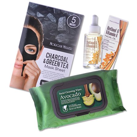 Brightening Kit (Morgan Miller 3-step Nurturing, Detoxifying, and Brightening Beauty Skin Care Kit; (Avocado Facial Cleansing Wipes, 60 ct; Charcoal & Green Tea Sheet Mask 5ct; Retinol & Vitamin A Facial Oil))
