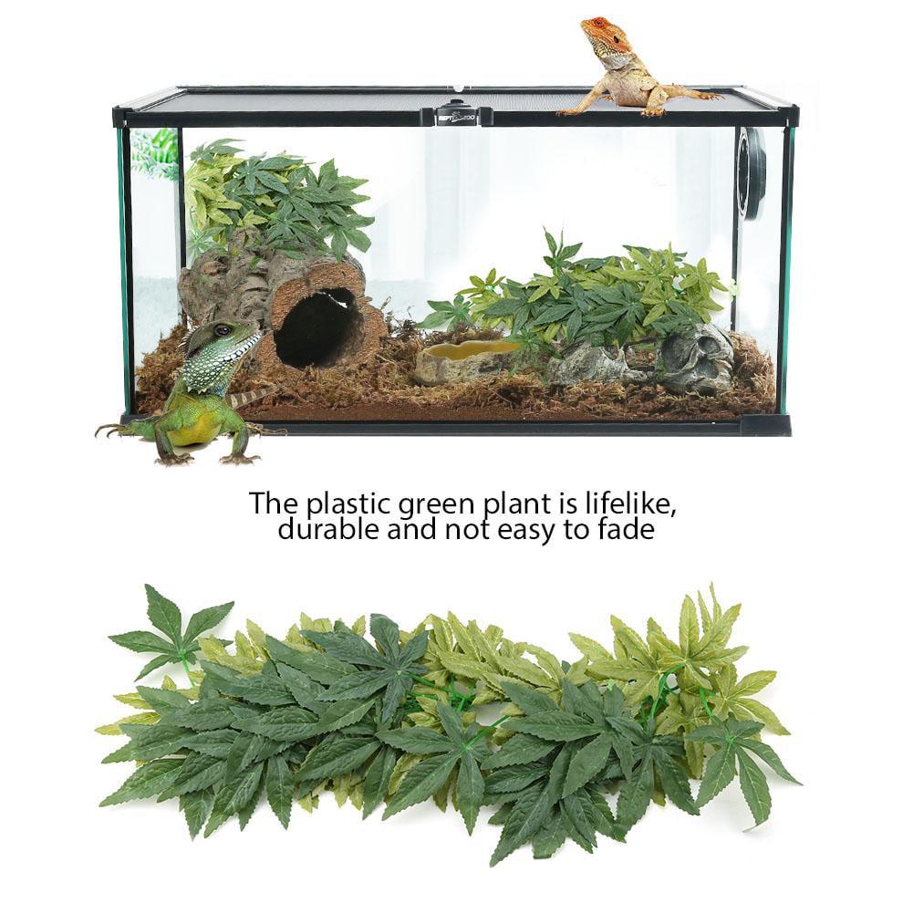 Yosoo Green Artificial Plant Fake Leaves Aquarium Fish Tank Reptile Terrarium Ornaments Decor Fish Tank Decorations Aquarium Artificial Plant