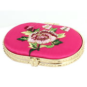 Flower Pattern Travel Folding Pocket Makeup Compact Cosmetic Mirror Magenta