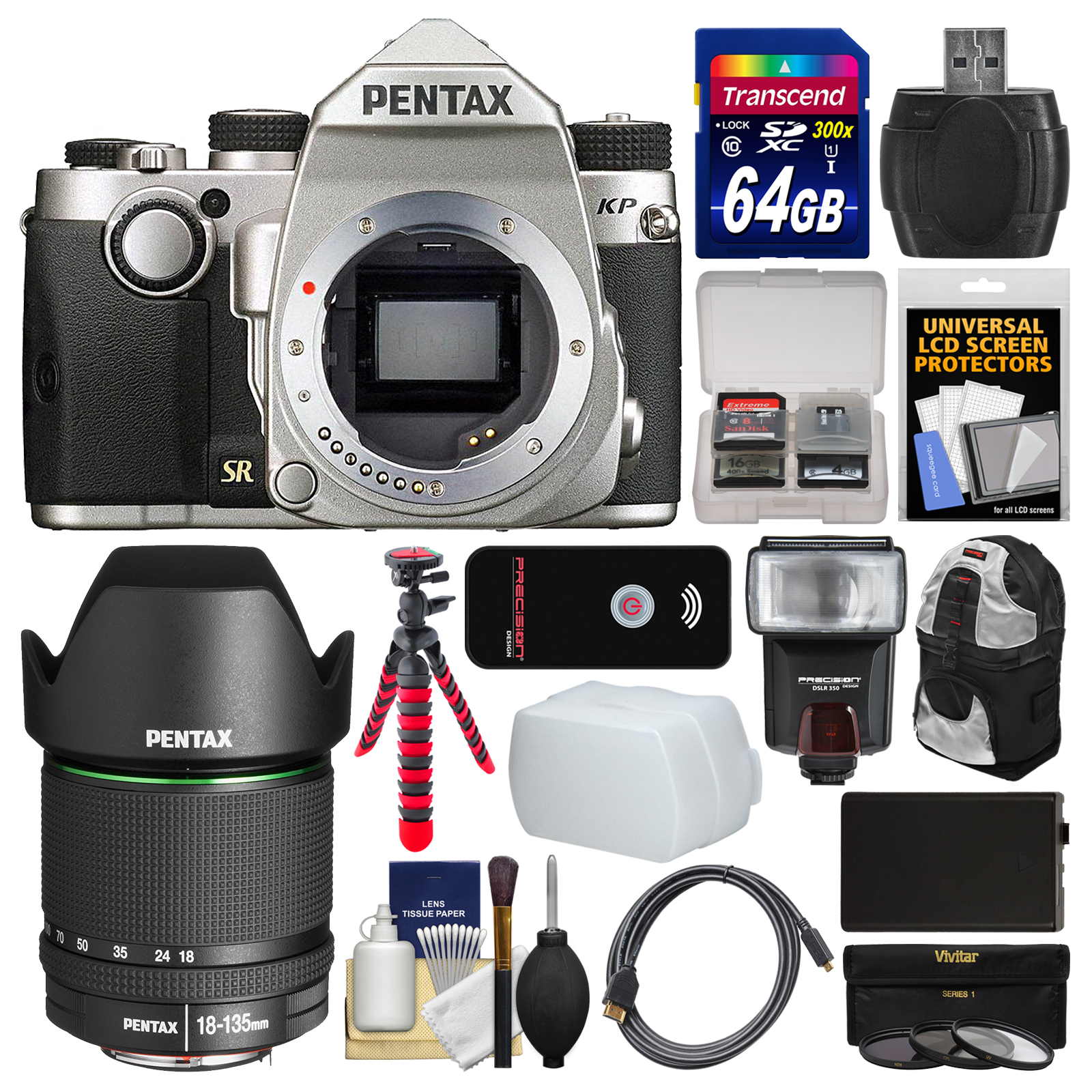 Pentax KP Wi-Fi Digital SLR Camera Body (Silver) with 18-135mm Lens + 64GB Card + Backpack + Flash + Battery +... by Pentax