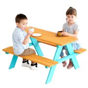 Teamson Kids Outdoor Picnic Table Set with Bench, Natural/Blue