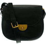 Fossil Women's Emi Glazed Pebble Saddle Bag Leather Cross Body Bag Satchel - Black