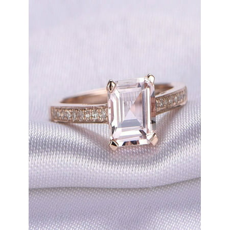 Limited Time Sale Antique 1.25 carat Morganite and Diamond Engagement Ring in 10k Rose Gold for Women 10k Antique Ring