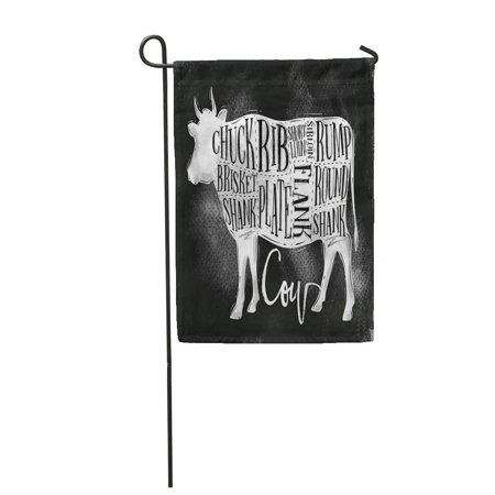 KDAGR Beef Cutting Scheme Lettering Chuck Brisket Shank Rib Plate Garden Flag Decorative Flag House Banner 28x40 inch ()