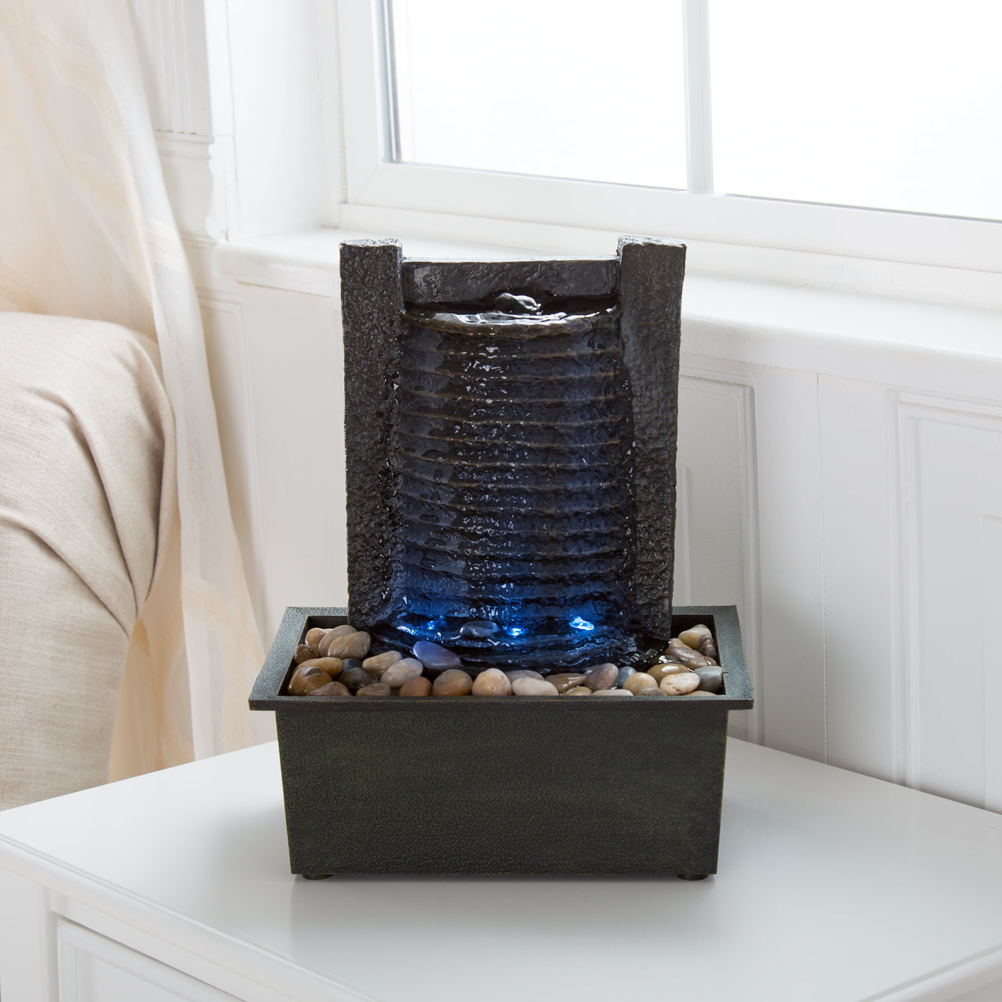 Indoor Water Fountain With LED Lights- Lighted Waterfall Tabletop Fountain With Stone Wall and Soothing Sound for Office... by Trademark Global LLC