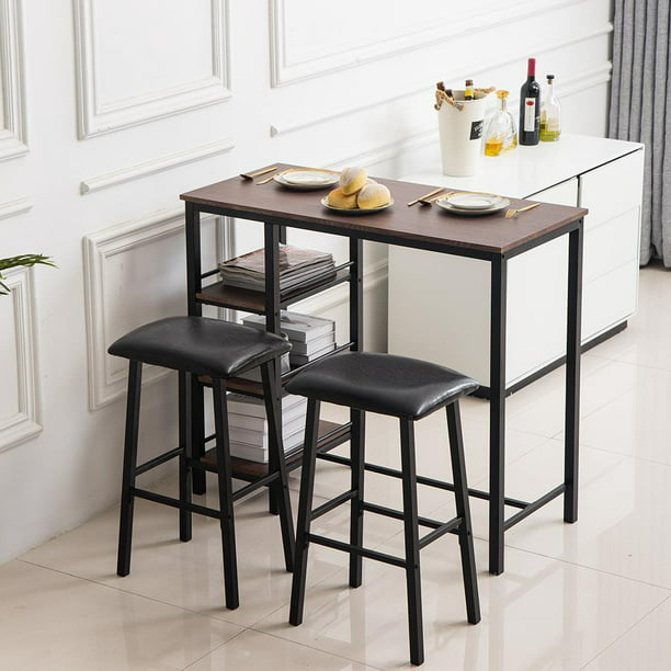 Zimtown 3 Piece Counter Height Dining, Bar Height Table With Storage