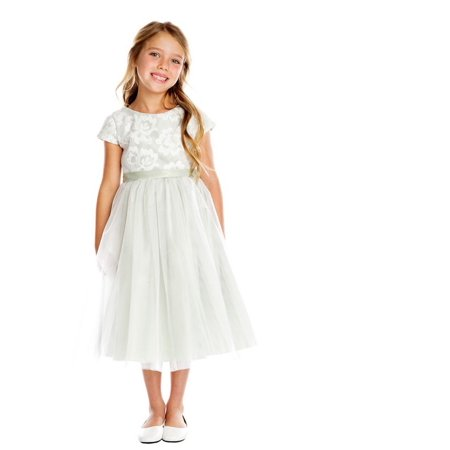Sweet Kids Little Girls Gray Floral Sponge Mesh Tulle Flower Girl Dress