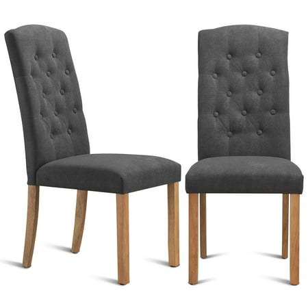 Gymax Set of 2 Dining Side Chairs Upholstered Fabric Button Tufted Wooden Legs Kitchen ()