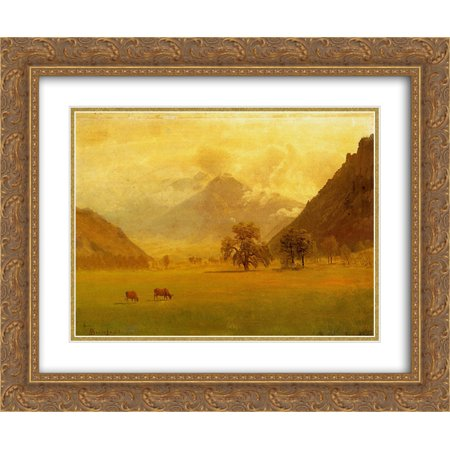 (Albert Bierstadt 2x Matted 24x20 Gold Ornate Framed Art Print 'Rhone Valley')