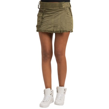 Womens Twill Cargo Skirts (Sweet Vibes Womens Skirt Olive Stretch Twill Military Style Waistband Lace Trim )