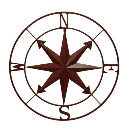 Distressed Metal Indoor/Outdoor Compass Rose Wall Hanging 28 Inch (Blue Metal Rose)