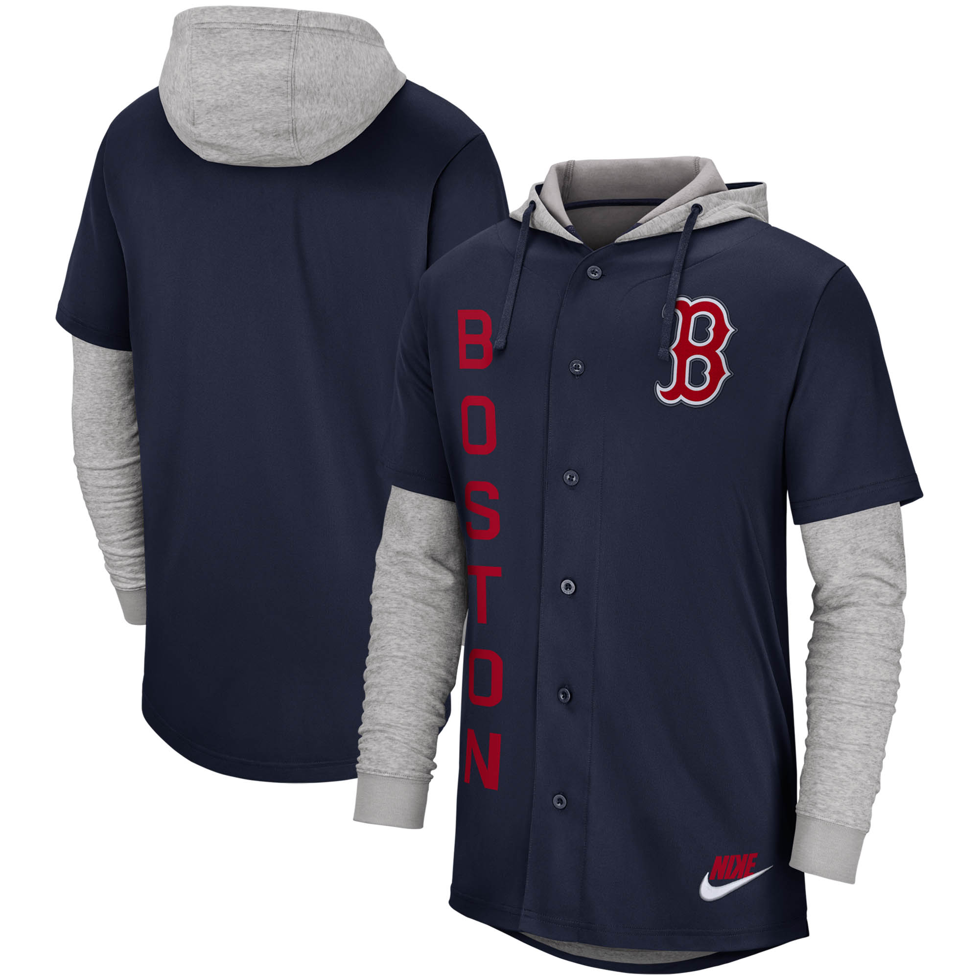 Boston Red Sox Nike Jersey Button-Up Hoodie - Navy