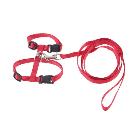 1cm Width Red Nylon Adjustable Belt Pet Dog Cat Puppy Harness Halter Leash