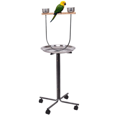 Play Perch - Costway 51'' Pet Bird Parrot Play Stand Perch w/ Stainless Steel Pan Feeding Cups Casters