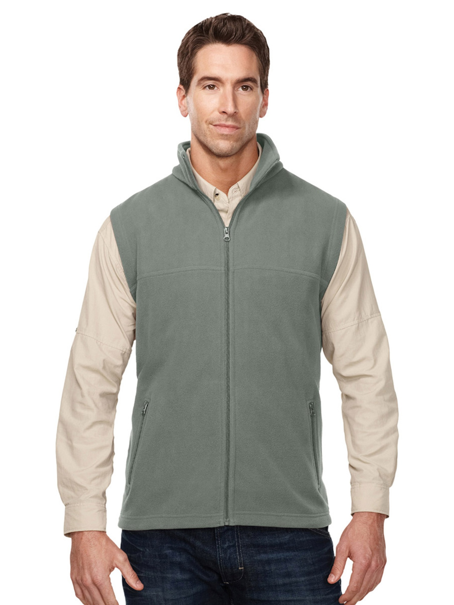 Tri-Mountain Men's Big And Tall Front Pocket Fleece Vest