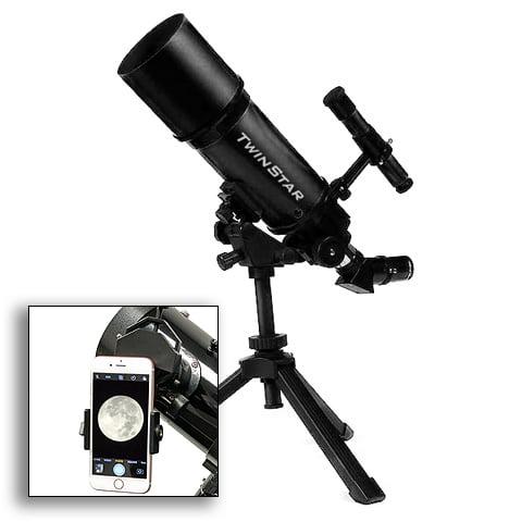 Twinstar 80mm Refractor Telescope, Black