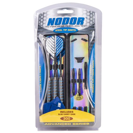 Nodor Striped Steel Tip Dart Set - Metallic - With Slim, Convenient Carry Case and Spare Flights and Shafts ()