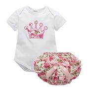 Newborn Kids Baby Girls Princess Crown Print Cotton Tops T-Shirts Rompers+Pants 2pcs Outfits Set 0-18 Months L