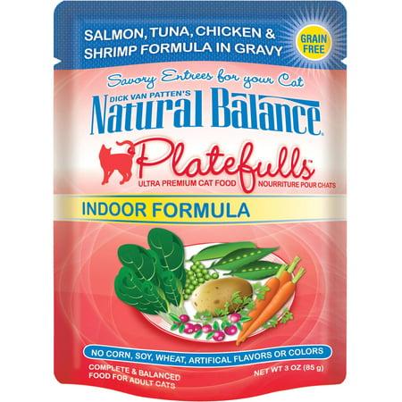 Natural Balance Platefulls Indoor Salmon, Tuna, Chicken & Shrimp Formula in Gravy Cat (Naturals Salmon Formula)
